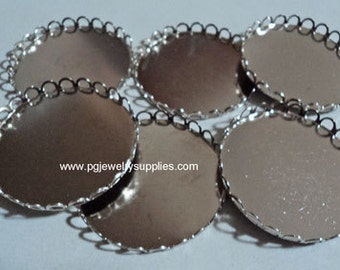 38mm round silvertone closed back lace edge cameo settings 6 pieces lot lD