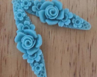 Rose flowers resin floral band blue 2 pieces lot l end of stock