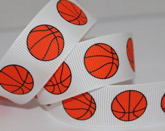 """1 Yard Grosgrain Ribbon 7/8"""" Basketball"""