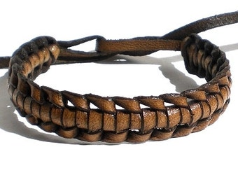 Brown real leather tie on plaited woven wristband strap band friendship bracelet