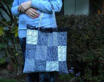 Handmade Black and White Patchwork Tote Bag