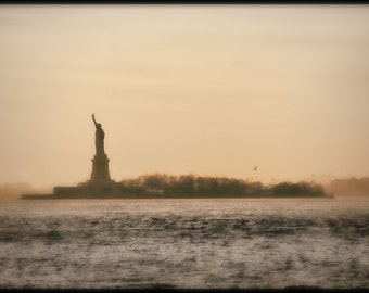 Statue of Liberty in Soft Bokeh and Vintage, NYC, Silhouette, Fog, Texture Effect