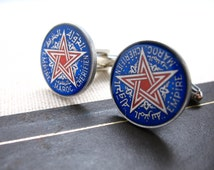Morocco Star Coin Cufflinks Hand Painted Islam Africa Cuff Links