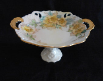 Yellow and White Floral Upcycled Vintage Candy Dish