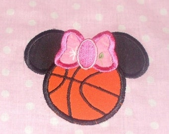Basketball Miss Mouse head Machine Embroidery Applique