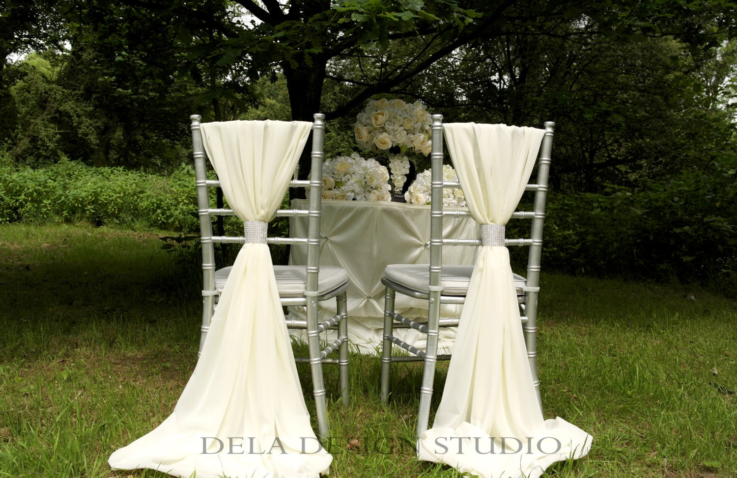 12 x wedding chiffon chair sash white ivory cream wedding