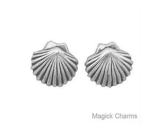 CLAM Shell EARRINGS, Scallop Seashell, Post Stud .925 Sterling Silver