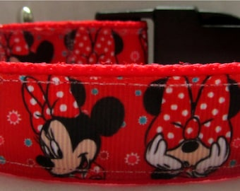 Red Disney Minnie mouse dog collar