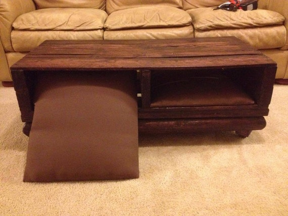 Items Similar To Wood Pallet Coffee Table Custom Rustic Ottoman Pillows One Of A Kind