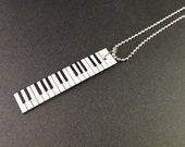 Paper Mosaic Piano Keyboard Necklace -Black and White Necklace - Original Art Necklace