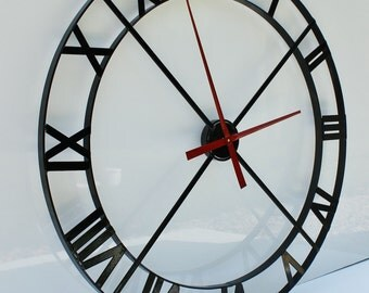 "36"" Wall Clock - Industrial Steel/Metal Powder Coated - Black (Movement & Hands NOT INCLUDED)"
