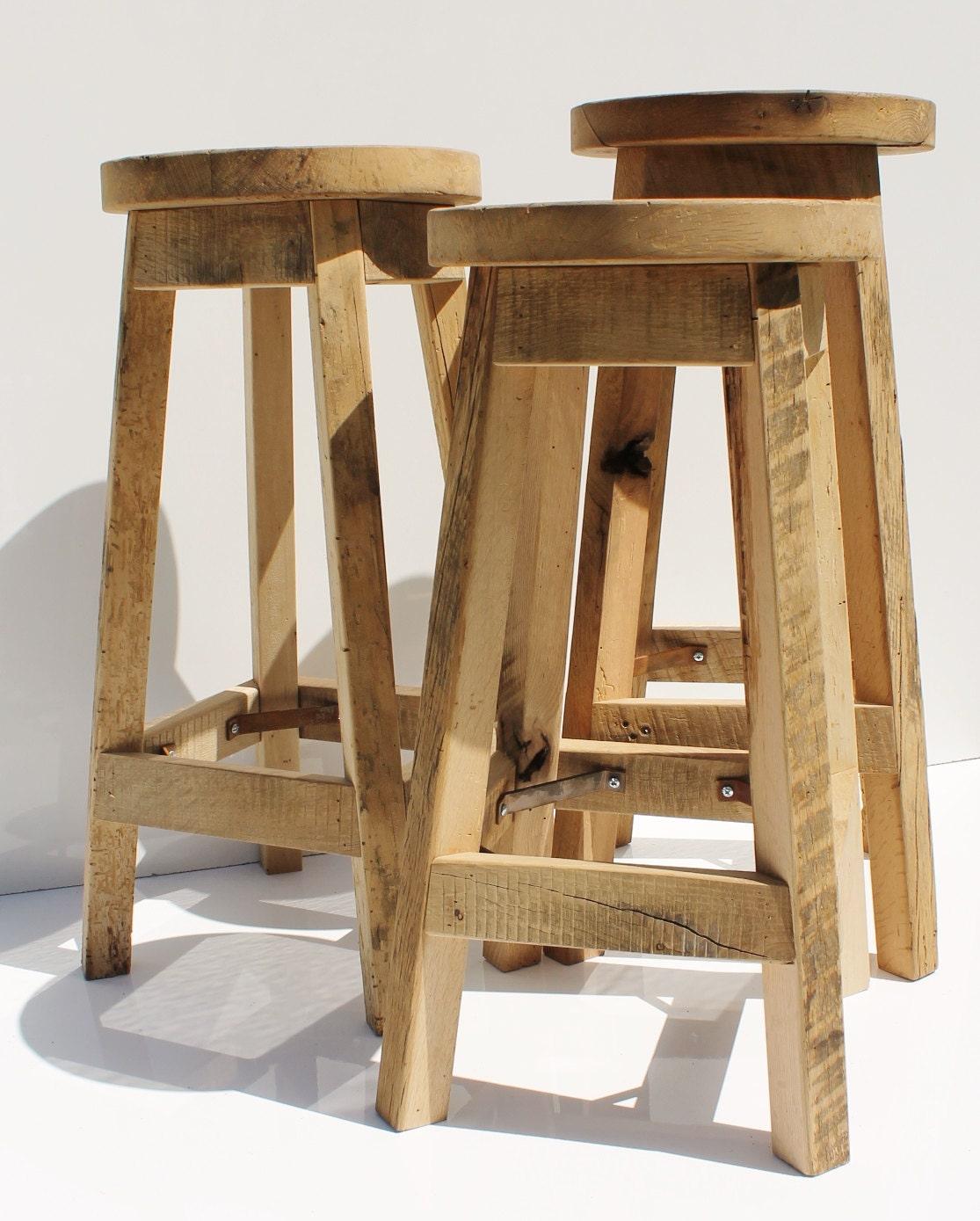 Bar stool rustic reclaimed barn wood raw w round top
