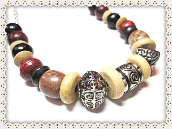 Necklace~Unisex~Wood Beads~Silver Toned Chain~Autumn Bliss ~ Warm Coloured Wood Beads~ Silver Chunky Accents~ On Wire and Chain