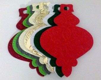12 large Embossed Ornament Bauble die cut card toppers for christmas cards, paper decoration, craft or scrapbooking