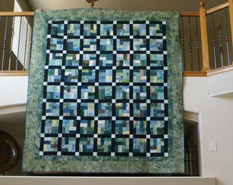 Bed Quilt, Cool Blues and Greens Quilt, Multi Colored Bed Quilt, Handmade Quilt, Bed Quilt, Extra Large Lap Quilt, Ocean Themed Quilt