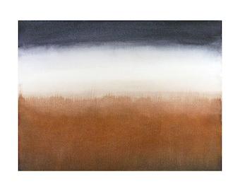 Abstract Sky Watercolor- Dark Blue, White, Rust- 8.25x11- Horizonatal, Stripes, Modern- Small Original Painting