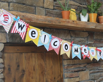 Dr. Seuss Baby Shower Banner, Welcome Baby Banner, Gender Neutral