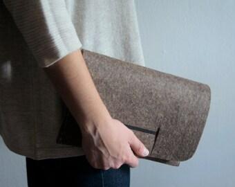 Handmade, minimalist, felt clutch bag