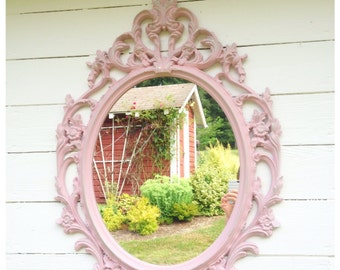 Princess ORNATE MIRROR, Pink Painted Baroque Mirror, Large Silver Shabby Chic Mirror, Bathroom Decorative Nursery Wall Hanging Mirror