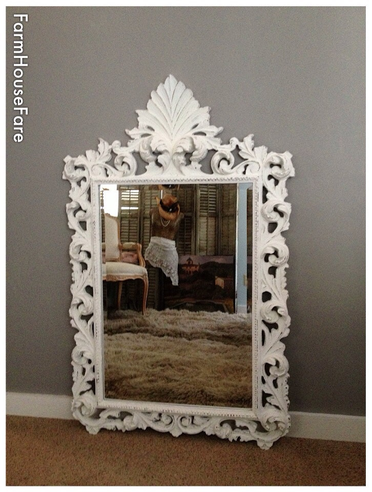 large ornate shabby chic mirror for sale baroque by farmhousefare. Black Bedroom Furniture Sets. Home Design Ideas
