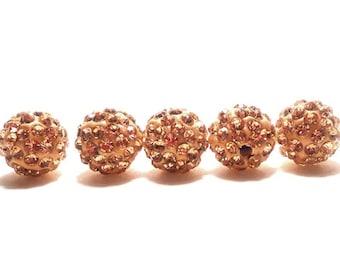5 Peach Pave Beads, 10mm Peach Pave, Peach Disco Beads, Peach Crystal Beads, 10mm Pave Beads, Shamballa Beads, Disco Ball Beads, T-102D