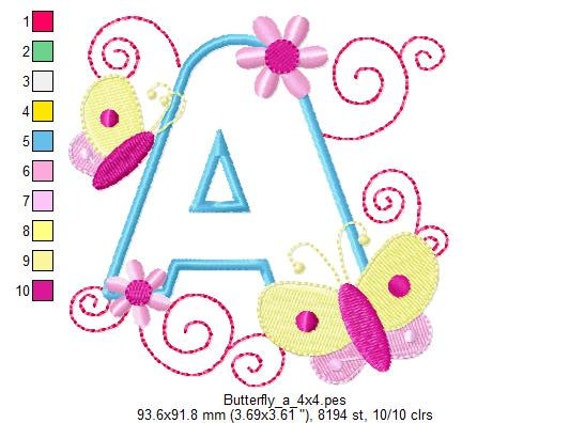 Butterfly Alphabet Embroidery Designs - INSTANT DOWNLOAD 26 Designs