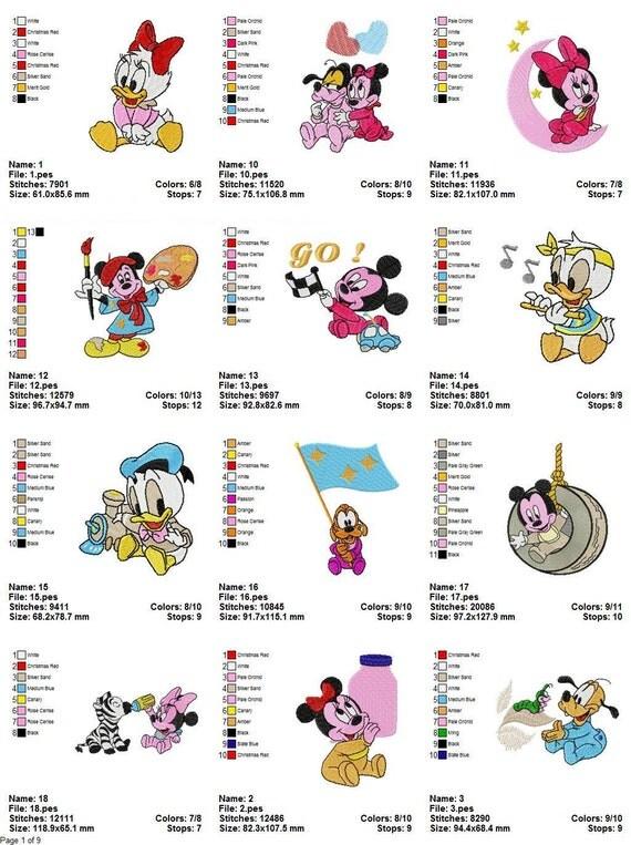 INSTANT DOWNLOAD 100 Designs - Disney Babies Machine Embroidery Designs - PES, hus, dst, vip, vp3, jef, sew, shv format