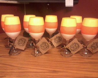 Candy Corn Wine Glass