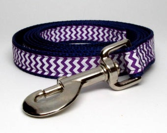Purple and White Chevron Leash 4, 5, 6 foot 3/4 width