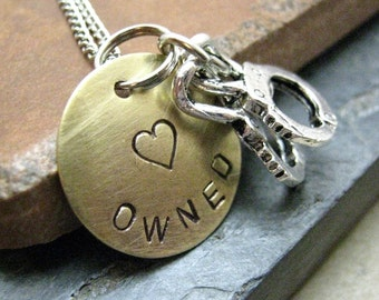 Owned Necklace, Handcuff Necklace, BDSM necklace, Slave necklace, choose your metal and length, Sub necklace, submissive gift
