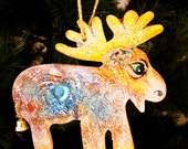 Moose Christmas Ornament - Hand crafted - One of a Kind