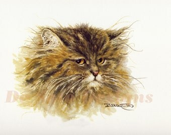 "Cat Watercolor Painting ""Tuffy"" Limited Edition Prints"