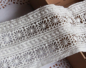 off white lace ribbon,Cotton Lace Trim, Retro Crochet Lace, White Cotton Lace, Hollow-out Lace Trim