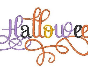 Halloween Embroidery Design Calligraphy