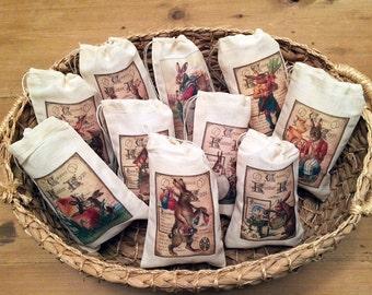 Easter Basket Gift Egg Hunt Bags. Set of 9 Victorian Vintage 4x6 Drawstring Party Favor Bags (Set 2)