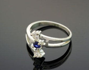 Sterling Silver 3-Stone Blue Sapphire Ring September Birthstone