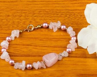 Rose quartz and pink pearl bracelet