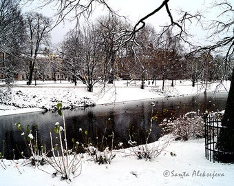 Winter view in a park in Riga,Latvia - Fine Art Photography, 8x12 print, winter photo, snow photo, nature photography, canal photo, wall art
