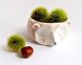 Hedgehog Bowl in White Clay Decorated with Pigments in Brown, Pink and Black. Made To Order