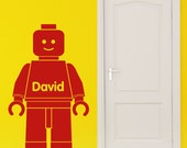 Lego Man Inspired Wall Sticker Personalised Vinyl Decal Children's Bedroom Transfer Name Decoration Wall Art
