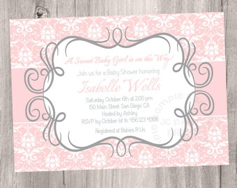 Pink Damask Baby Shower Invitation Printable Baby Shower  Invitation,  Baby Girl Shower. Digital File.