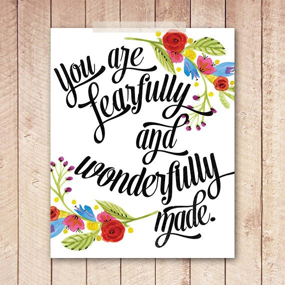 Nursery Art Print, Bible Verse Print, Floral Art Printable, 8x10 Instant Download, Christian Wall Art
