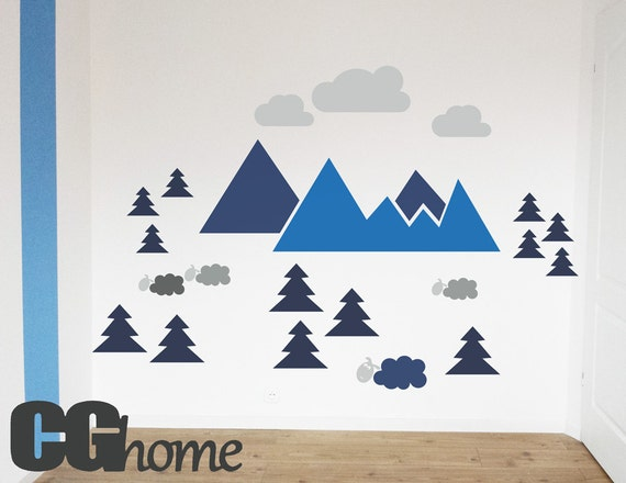 MOUNTAIN view for kids HUGE colorful wall decal CGhome