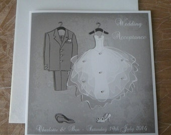 """Handmade Personalised 6"""" Square Wedding Acceptance Card"""