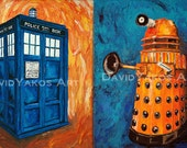 Doctor Who Tardis and Dalek Painting Art Print Set 2 8x10s or 11x14s