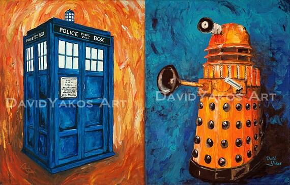 Doctor Who Tardis and Dalek Painting Art Print Set 2 8x10s