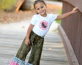 Pretty Girls are the Happiest girls mega ruffle pants with embroidered shirt - can be personalized - leopard print with pink and grey