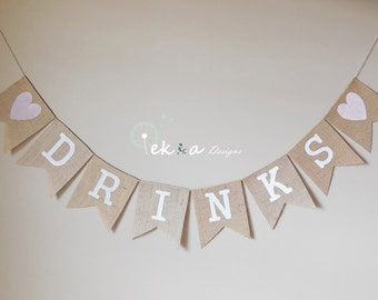 DRINKS burlap banner / wedding burlap banner / wedding bunting / wedding sign / reception banner (B)