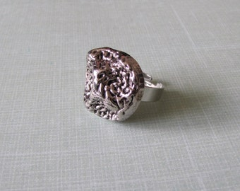 Scrunched Metal Silver Button Ring