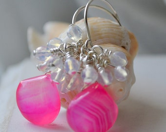 Hot Pink Chalcedony Cluster Earrings Handmade Wire Wrapped